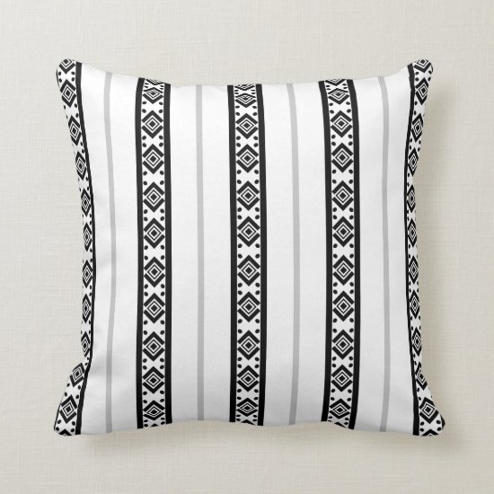 Modern Black Gray White Tribal Stripes Pattern | Throw Pillow