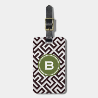 Modern black greek key geometric pattern monogram bag tag