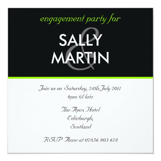Modern Black & Green Engagement Party Invitation