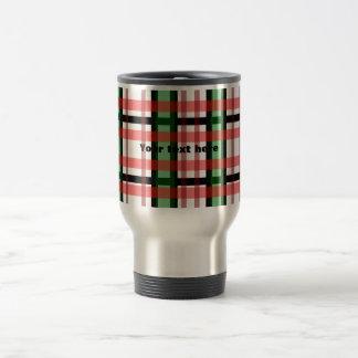 Modern black green red and white plaid pattern 15 oz stainless steel travel mug