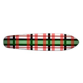 Modern black green red and white plaid pattern skate deck