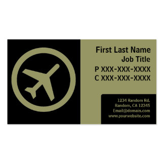 Modern black green simple airplane cards Double-Sided standard business cards (Pack of 100)