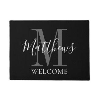 Modern Black Grey Monogram Name Newlyweds Wedding Doormat