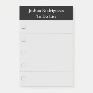 Modern Black Grey To Do List with Name Post-it Notes