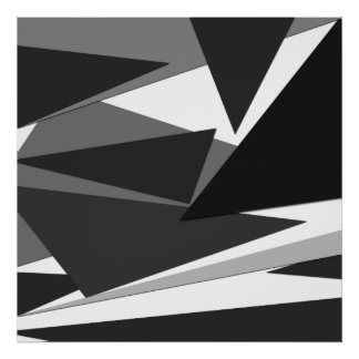 Modern Black, Grey, & White Geometric Triangles Poster