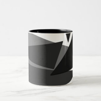 Modern Black, Grey, & White Geometric Triangles Two-Tone Coffee Mug