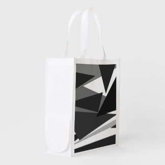Modern Black, Grey, & White Geometric Triangles Grocery Bags