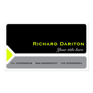 Modern black & grey with a chartreuse triangle business card template