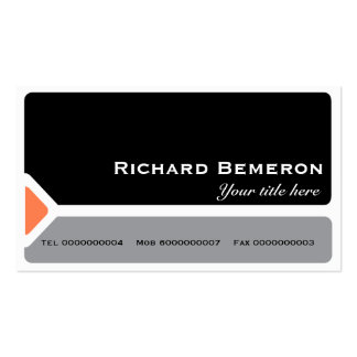 Modern black & grey with a coral triangle business cards