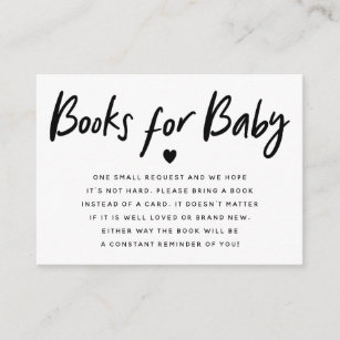 Modern Black Heart Baby Shower Book Request Enclosure Card