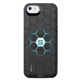 Modern Black Hexagonal Glow Pattern Personalized Uncommon Power Gallery™ iPhone 5 Battery Case