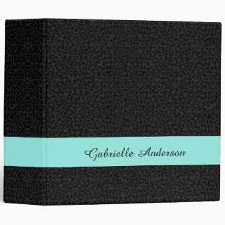 Modern Black Leopard Print Aqua Stripe With Name Binder