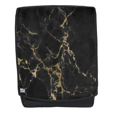Aztec Themed Modern Black Marble and Gold Backpack