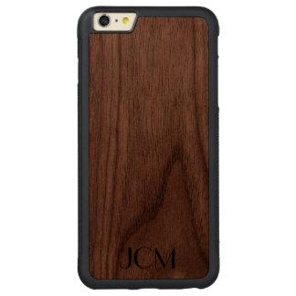 Modern Black Monogram Carved® Walnut iPhone 6 Plus Bumper Case