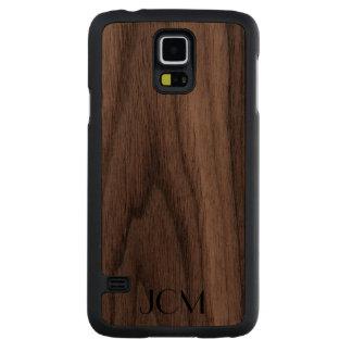 Modern Black Monogram Carved® Walnut Galaxy S5 Slim Case