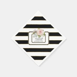 Modern Black n White Striped Rose Bridal Shower Napkin