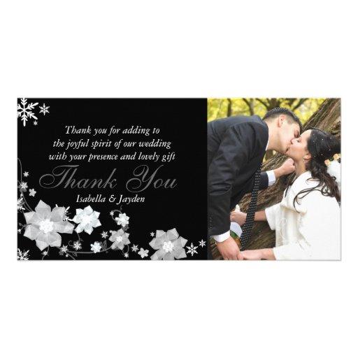 Modern Black n White Winter Wedding Thank You Photo Card