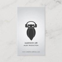 Modern Black Night Owl Logo DJ, Band, Musician Business Card