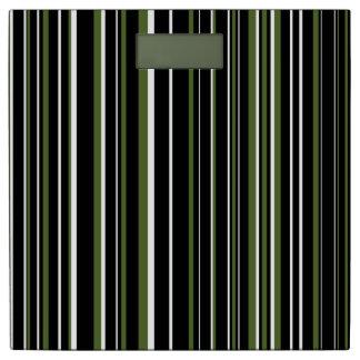 Modern Black Olive Green White Barcode Stripes Bathroom Scale