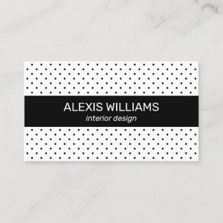 Modern Black on White Polka Dots Black Stripe Business Card