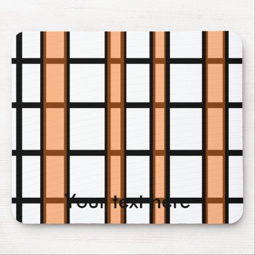 Modern black orange and white grid pattern mouse pad