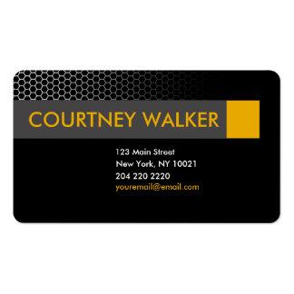 Modern black & orange honeycomb business cards