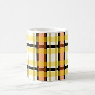 Modern black orange yellow and white plaid classic white coffee mug