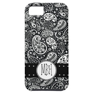 Modern Black Paisley with Personalization iPhone 5 Cases
