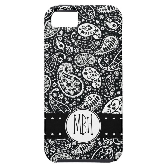 Modern Black Paisley with Personalization iPhone SE/5/5s Case