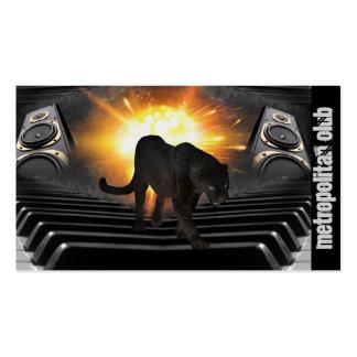 Modern  Black panther flames DJ night club disco Business Card