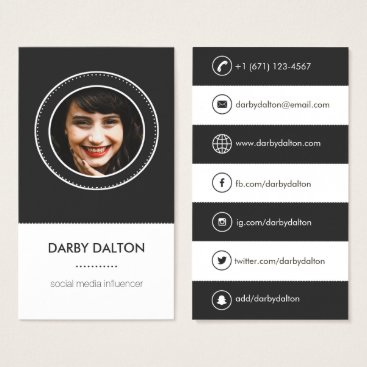 Professional Business Modern Black Photo Social Media Business Card
