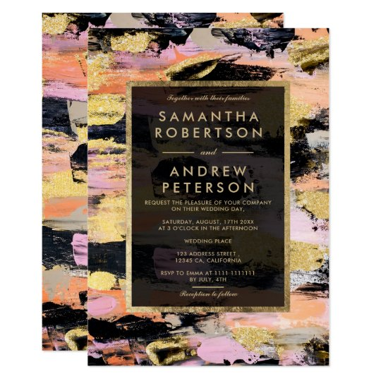 Modern Black Pink Brushstrokes Gold Wedding Invitation