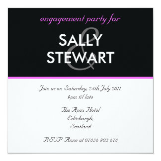 Modern Black & Pink Engagement Party Invitation