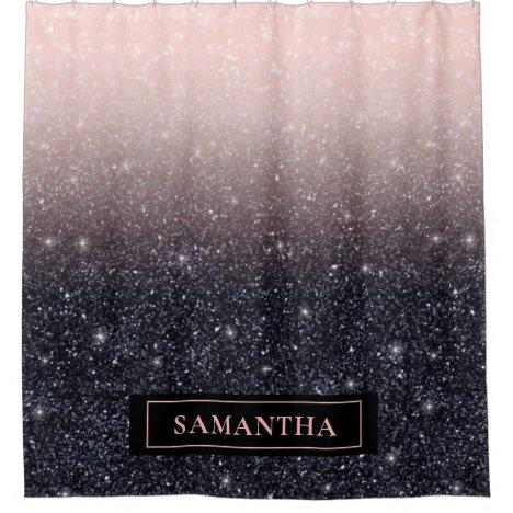 Modern Black & Pink Glitter Sparkles Name Shower Curtain