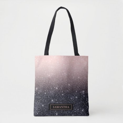 Modern Black & Pink Glitter Sparkles Name Tote Bag
