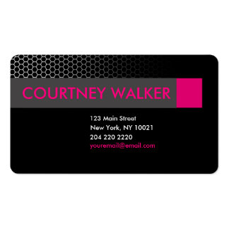 Modern black & pink honeycomb business cards
