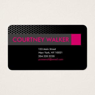 Modern black & pink honeycomb business cards