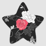 modern black pink white flower abstract design star sticker