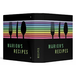 Modern Black Rainbow Cooking Recipe Book Binder