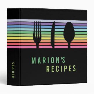 Modern Black Rainbow Cooking Recipe Book Binder