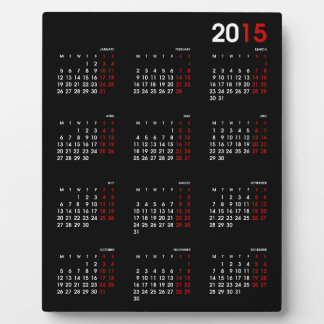 Modern Black Red and White ~ 2015 Calendar Plaque