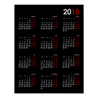 Modern Black Red and White ~ 2015 Calendar Posters