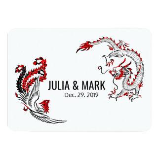 Modern Black Red Dragon-Phoenix Chinese Wedding Card