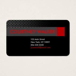 Modern black & red honeycomb business cards
