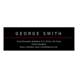 Modern Black - Red Simple Plain Business Card
