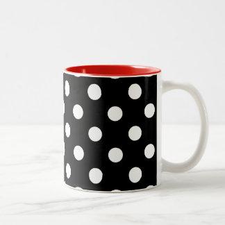 Modern Black Red White Polka Dots Two-Tone Coffee Mug