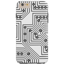 Modern Black Retro Computer Circuit Board Pattern Tough iPhone 6 Plus Case