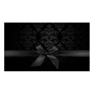 Modern Black Ribbon Damask Makeup Artist Business Cards