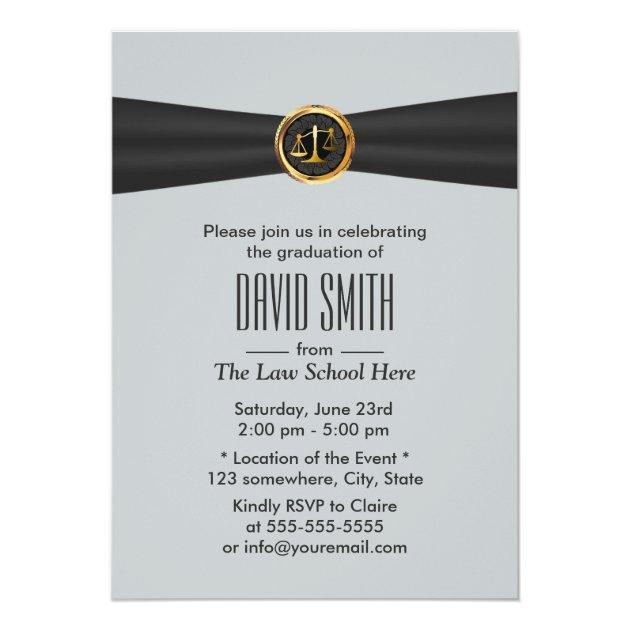 Modern Black Ribbon Silver Law School Graduation 5x7 Paper Invitation Card (front side)