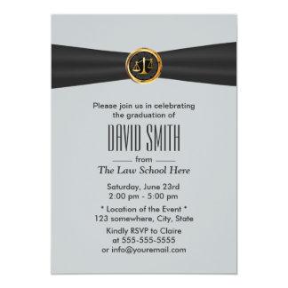 Modern Black Ribbon Silver Law School Graduation 5x7 Paper Invitation Card